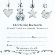 Pack of 10 Christening Invitations - Teddy, Duck & Star